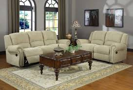 Chenille Reclining Sofa 2 Pc Esther Collection Beige Chenille Fabric Upholstered