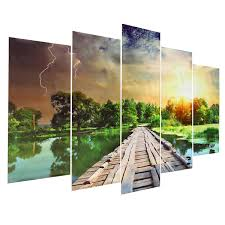 Painting Home by 5pcs Modern Art Printing Lake Landscape Poster Canvas Painting