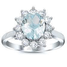 Aquamarine Wedding Rings by Oval Aquamarine Floral Halo Diamond Engagement Ring