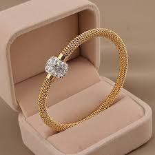 stainless steel gold bracelet images Stainless steel gold women distort bracelets bangles new york jpg