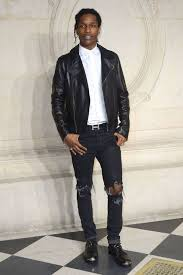 men u0027s black leather biker jacket white dress shirt black ripped