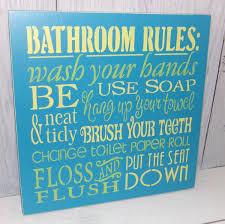 Teal Bathroom Decor by Bathroom Rules Wash Your Hands Sign Bathroom Sign Wooden