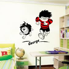 dennis and gnasher wall stickers decals dennis and gnasher wall decal in a bedroom