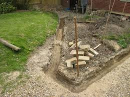 laying foundations for brick garden wall on sloping ground