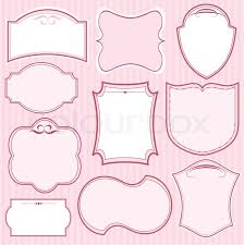 set of pink vector frames and ornaments with text place