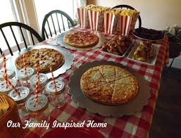our family inspired home pizza parlor movie night birthday party