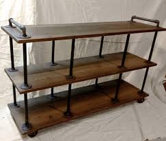 Pipe Shelves Kitchen by Industrial Iron And Wood Tv Stand By Retroworksstudio On Etsy