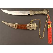 asian india ornate dagger curved steel blade