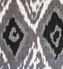 grey linen ikat fabric by the yard modern black white ikat