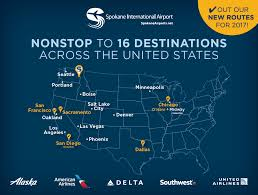 United International Route Map by Spokane Intl Airport U003e Flight Info U003e Non Stop Flights
