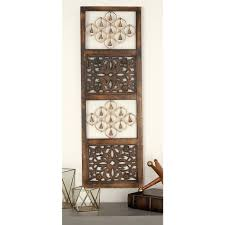 48 in x 16 in rustic mango wood and iron decorative bells wall rustic mango wood and iron decorative bells wall panel 24218 the home depot