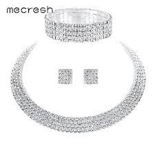 rhinestone necklace wedding images Online shop mecresh crystal bridal jewelry sets silver color jpg