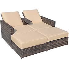 amazon com abba patio chaise lounge chair set outdoor rattan