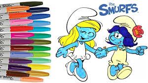 smurfs lost village smurfette u0026 smurf blossom coloring book