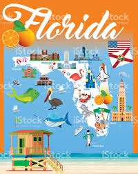 Map Florida Keys by Cartoon Map Of Florida Stock Vector Art 623959846 Istock