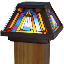 Solar Lights Fence - decking lighting solar post caps with the look of stained glass