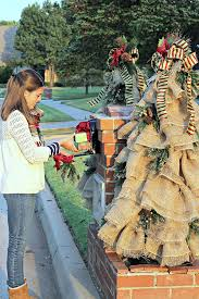 Christmas Mailbox Decorations Diy by Mailbox Decorations Burlap And Greenery
