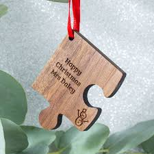 personalised wooden gift teacher christmas decoration by create