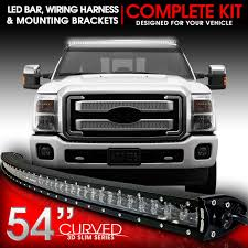 f250 led light bar led light bar curved 312w 54 inches bracket wiring harness kit for
