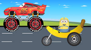 monster truck video for kids disney lightning mcqueen truck vs minions banana motor video for