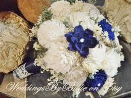 Shabby Chic Wedding Bouquets by Navy Blue Sola Bouquet Blue Bouquet Fall Bouquets Wedding