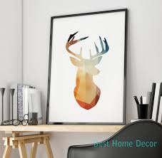 aliexpress com buy geometric animal colorful deer head wall art