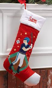 baseball player personalized christmas stocking