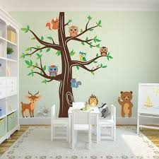 woodland animals wall tree nursery decal 1337 innovativestencils playroom tree decal forest animals bear white jpg