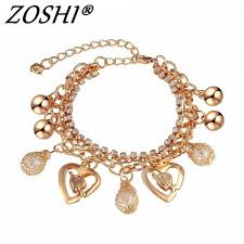 gold chain bracelet with charms images 2018 new woman bracelets mulitlayer gold chain heart bracelets jpg