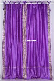 indian selections lavender tie top sheer sari curtain drape