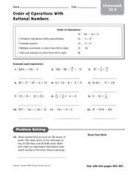 order of operations with rational numbers homework 22 4 5th