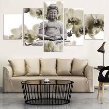 unframed 5 panel large orchid background buddha painting fengshui