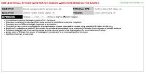 internal affairs investigator resume sample