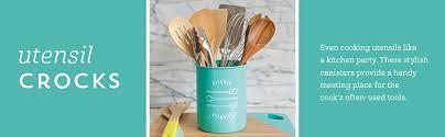 Designer Kitchen Utensils Amazon Com Now Designs Utensil Crock Turquoise Kitchen U0026 Dining