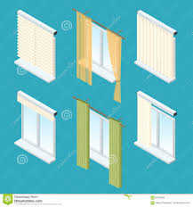 isometric windows curtains drapery shades blinds vector