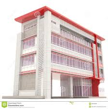 red 3d modern office building exterior in white stock illustration