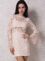lace dresses pink flared sleeve lined crochet lace bodycon dress choies