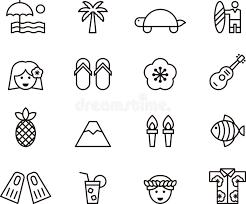 set of clip hawaiian icons symbols stock photo image of fish