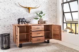 Wohnzimmerm El Akazie Massiv Finebuy Sideboard 160 X 84 X 46 Cm Massiv Holz Akazie Natur