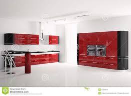 modern red kitchen modern red kitchen interior 3d stock illustration image 38326505