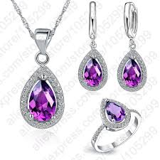 silver purple necklace images Jexxi free ship purple jewelry sets water drop cubic zirconia cz jpg