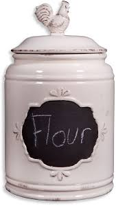 Kitchen Glass Canisters With Lids by Amazon Com Set Of 3 Ivory Ceramic Round Chalkboard Rooster