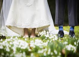 wedding shoes for grass wedding photo s bridal shoes and grooms blue socks green