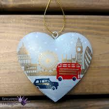 gisela graham london scene tin heart hanging christmas tree