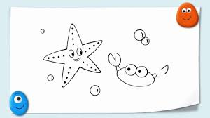 funny cartoon animal drawing a starfish and crab doodle by