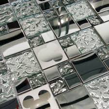Glass Kitchen Backsplash Tile Glass Mosaic Tiles Random Mickey Mouse Pattern Silver Glass