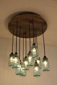 How To Mason Jar Chandelier Fascinating Blue Mason Jar Chandelier As Your Own Home Equipments