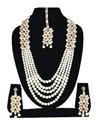 necklace set white images Buy sadhana collection white kundan pearl necklace set with jpg