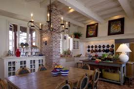 tropical dining room with sliding doors wall ovens