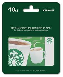 starbuck gift card deal starbucks gift cards multipack of 8 10 gift cards